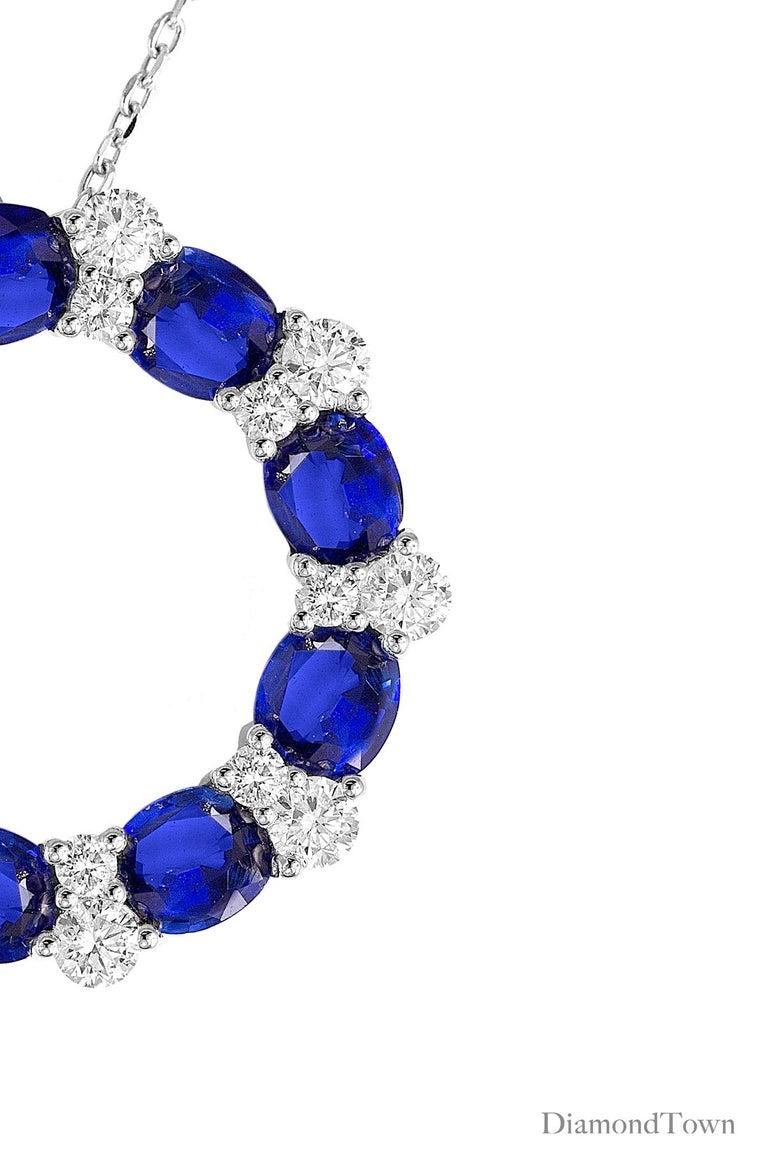 Contemporary DiamondTown 3.82 Carat Blue Sapphire and Diamond Pendant in 18 Karat White Gold For Sale