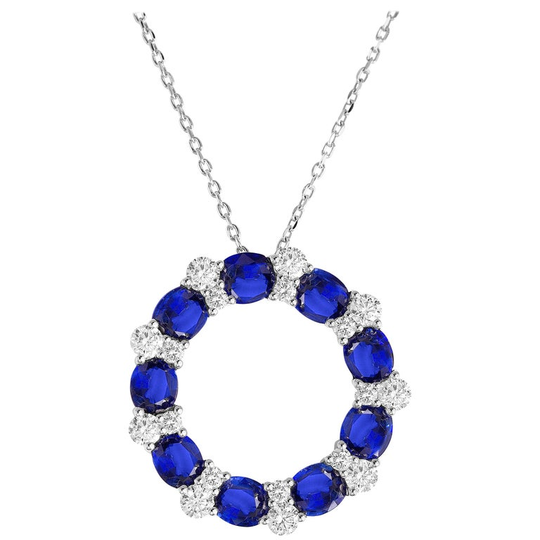 DiamondTown 3.82 Carat Blue Sapphire and Diamond Pendant in 18 Karat White Gold For Sale