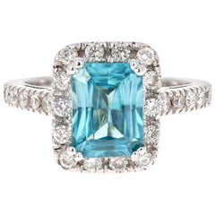 3.82 Carat Blue Zircon Diamond 14 Karat White Gold Ring