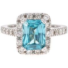 3.82 Carat Blue Zircon Diamond 14 Karat White Gold Ring