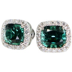 3.82 Carat Natural Vivid Green Tourmaline and Diamond Stud Earrings