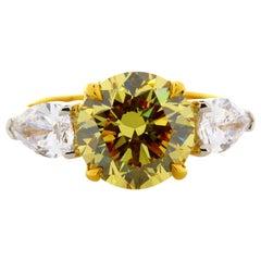 3.82 Carat Round Natural Fancy Deep Yellow VVS2 3-Stone Ring 22 Karat Gold Plat