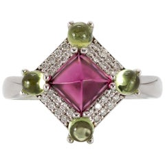 3.82 Carat Sugarloaf Rubellite Tourmaline, Peridot, and Diamond Ring in 18 Karat
