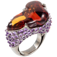 Manpriya B 38.24ct Citrine Tumble Amethyst Diamond Statement Cocktail Ring