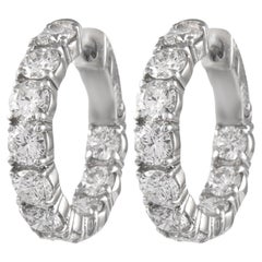 3.83 Carat Diamond Hoop Earrings White Gold