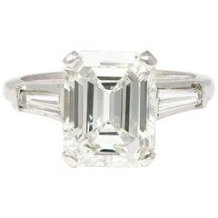3.83 Carat Emerald-Cut Diamond Engagement Ring in Platinum with GIA Report