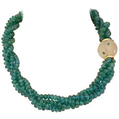 3.83 Carat Four Strand Natural Emerald Bead Necklace with Frosted Crystal Clasp