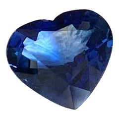 3.83 Carat Heart Shaped Blue Sapphire GIA, Unset Loose Pendant Necklace Gemstone