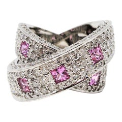 3.83 Carat Pave Diamond and Pink Sapphire Crossover Band Ring 14 Karat Gold