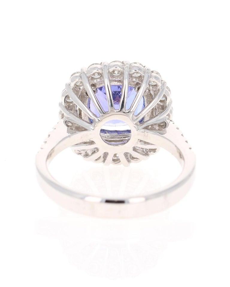 Modern 3.83 Carat Tanzanite Diamond 14 Karat Cocktail Ring For Sale