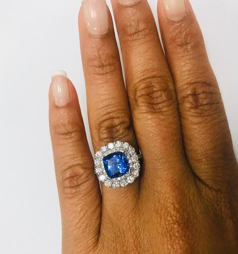 3.83 Carat Tanzanite Diamond 14 Karat Cocktail Ring In New Condition For Sale In San Dimas, CA