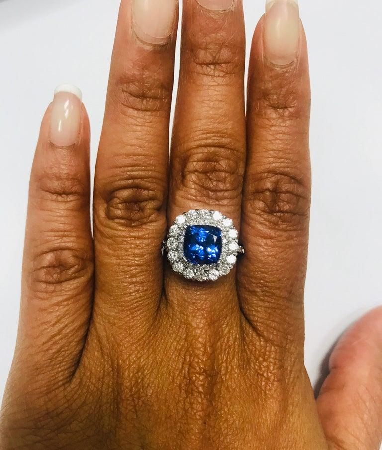 Women's 3.83 Carat Tanzanite Diamond 14 Karat Cocktail Ring For Sale