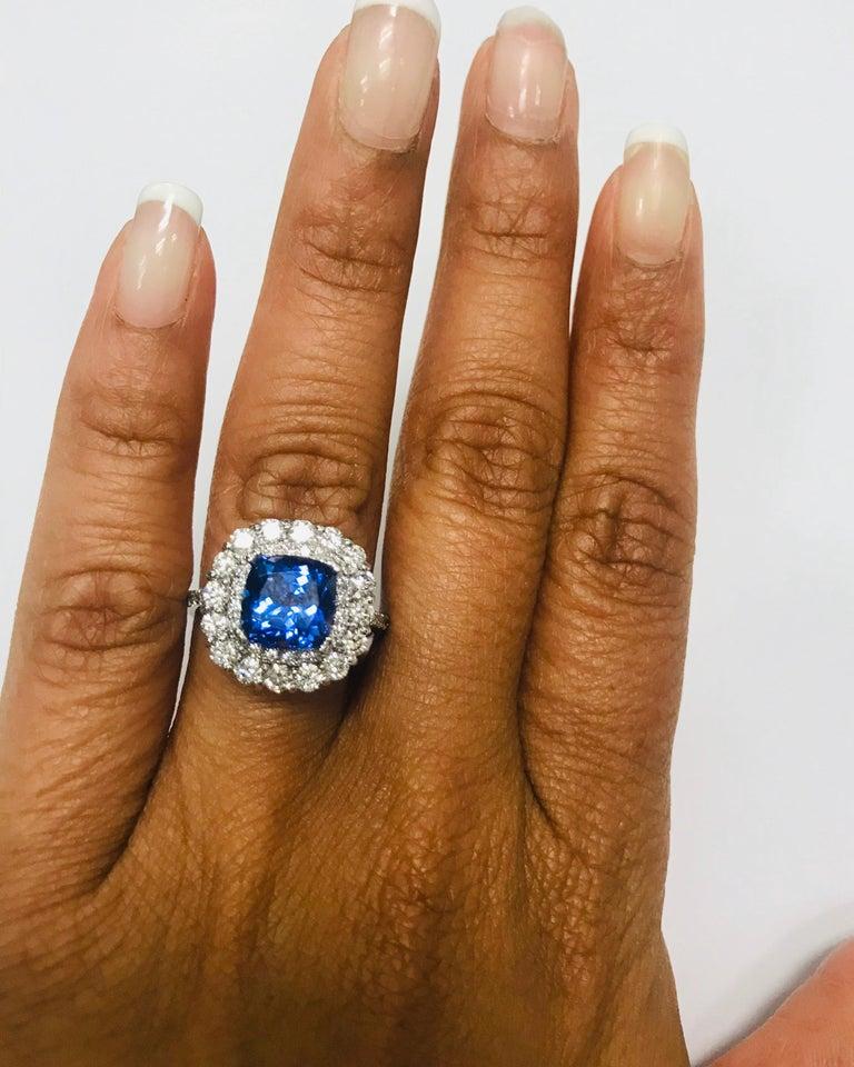 3.83 Carat Tanzanite Diamond 14 Karat Cocktail Ring For Sale 1