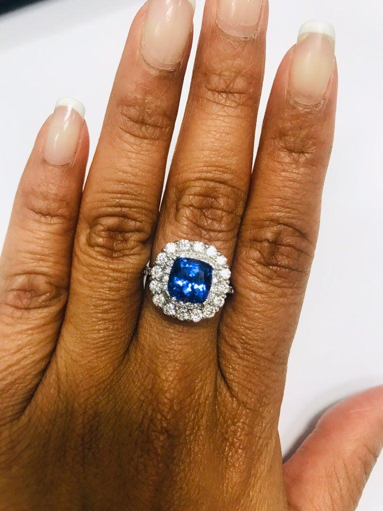 3.83 Carat Tanzanite Diamond 14 Karat Cocktail Ring For Sale 2
