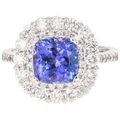 3.83 Carat Tanzanite Diamond 14 Karat Cocktail Ring