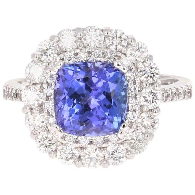 3.83 Carat Tanzanite Diamond 14 Karat Cocktail Ring For Sale