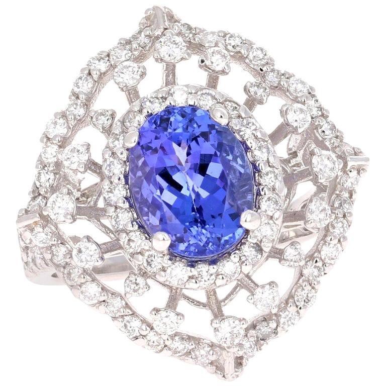 3.83 Carat Tanzanite Diamond 14 Karat White Gold Cocktail Ring