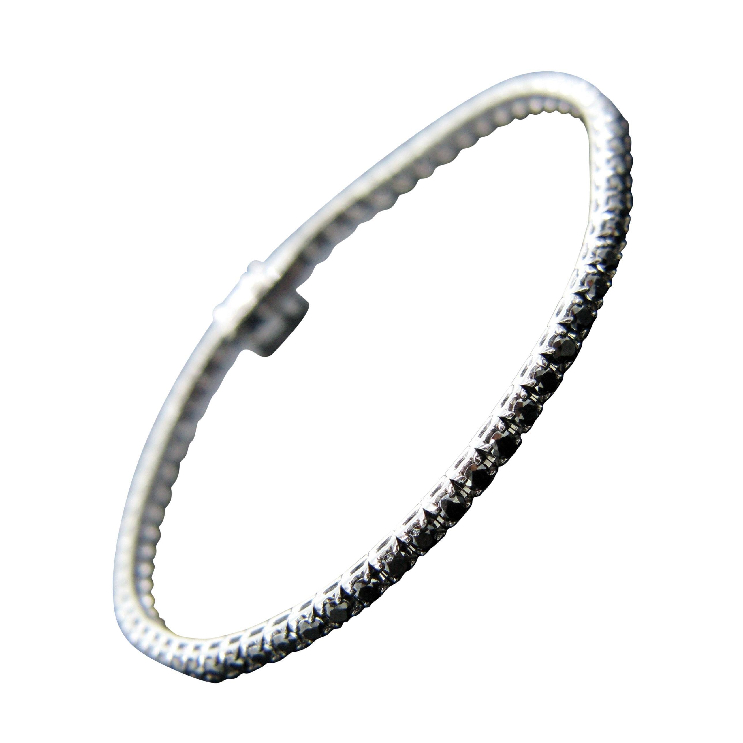 3.84 Carat Black Diamonds Tennis Line White Gold Bracelet