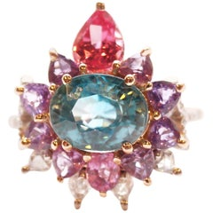 3.84 Carat Blue Zircon, Sapphire, Spinel and Diamond Arnez Ring