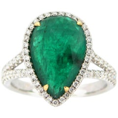3.84 Carat Emerald and Diamond Cocktail Ring