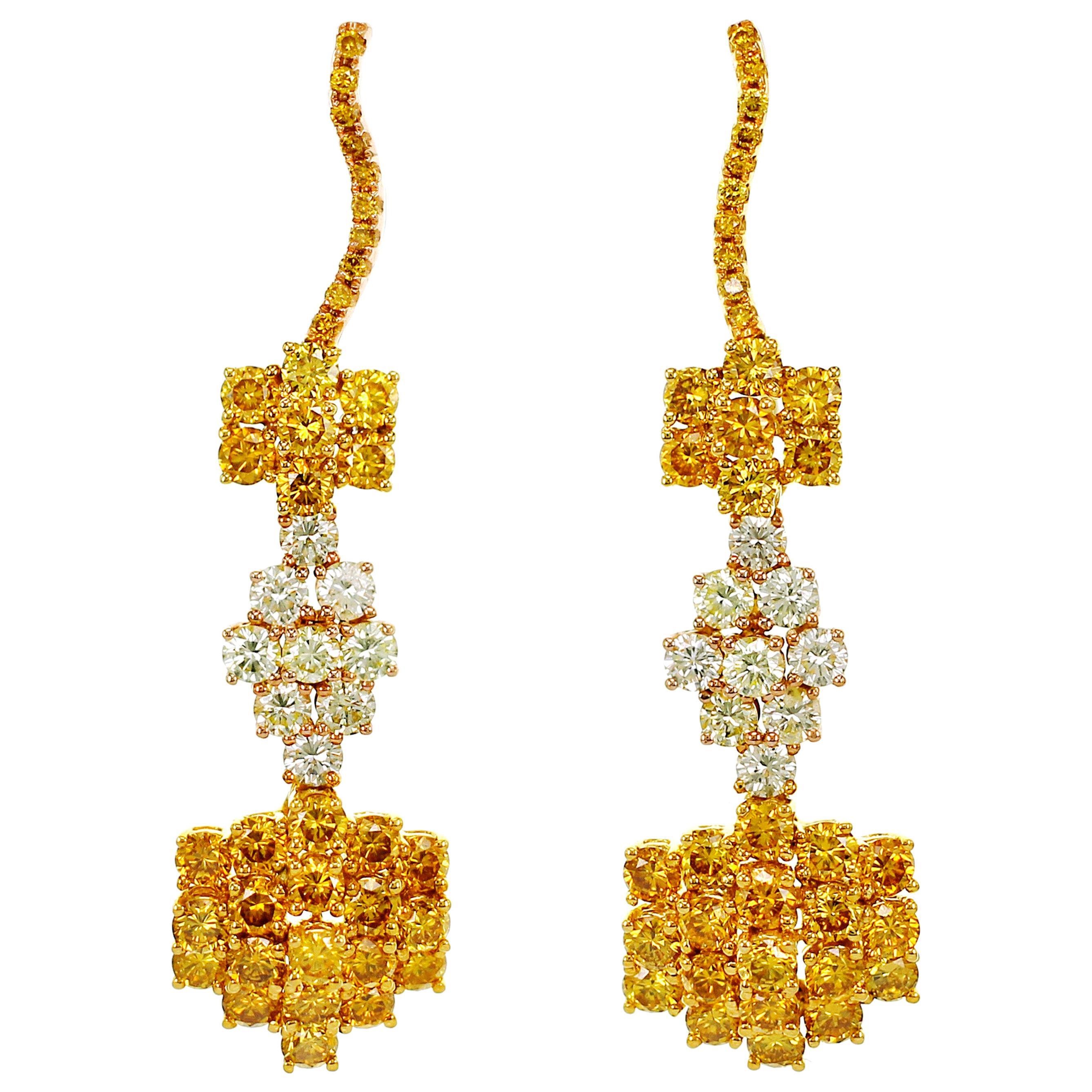 3.84 Carat Natural Fancy Color Diamond Dangle Earring