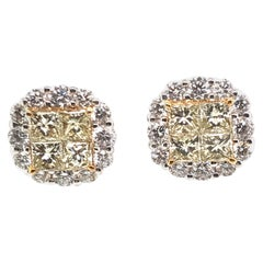 3.84 Carat Natural Fancy Yellow Diamond Cluster Earrings