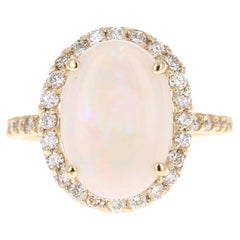 3.84 Carat Opal Diamond 14 Karat Yellow Gold Ring