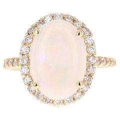 3.84 Carat Opal Diamond 14 Karat Yellow Gold Ring