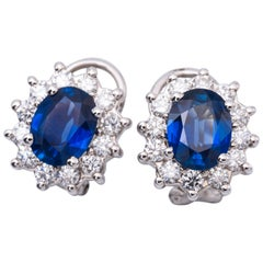 3.84 Carat Oval Sapphires Diamond Gold Earrings