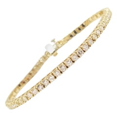 3.84 Carat Round Brilliant Cut Diamond Tennis Bracelet 14 Karat Yellow Gold