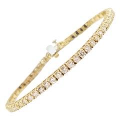 3.95 Carat Round Brilliant Cut Diamond Tennis Bracelet 14 Karat Yellow Gold 7''