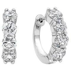 3.84 Carat Round Diamond Four-Stone Hoop Earrings