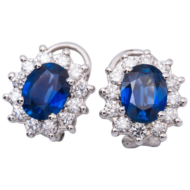 3.84 Carat Oval Sapphires Diamond Gold Earrings For Sale