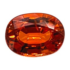 3.84 Spessartite Garnet Oval Unset Loose 3-Stone Engagement Ring Gemstone