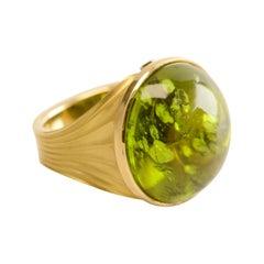 38.40 Carat Peridot Cocktail Ring in 18 Karat Yellow Gold with Diamond