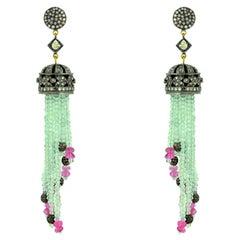 38.45 Carat Aquamarine Tourmaline Diamond Tassel Earrings