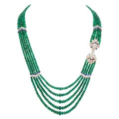385 Carat 5-Strand Emerald Necklace with 9.06 Carat Sapphire and Diamond in Plat