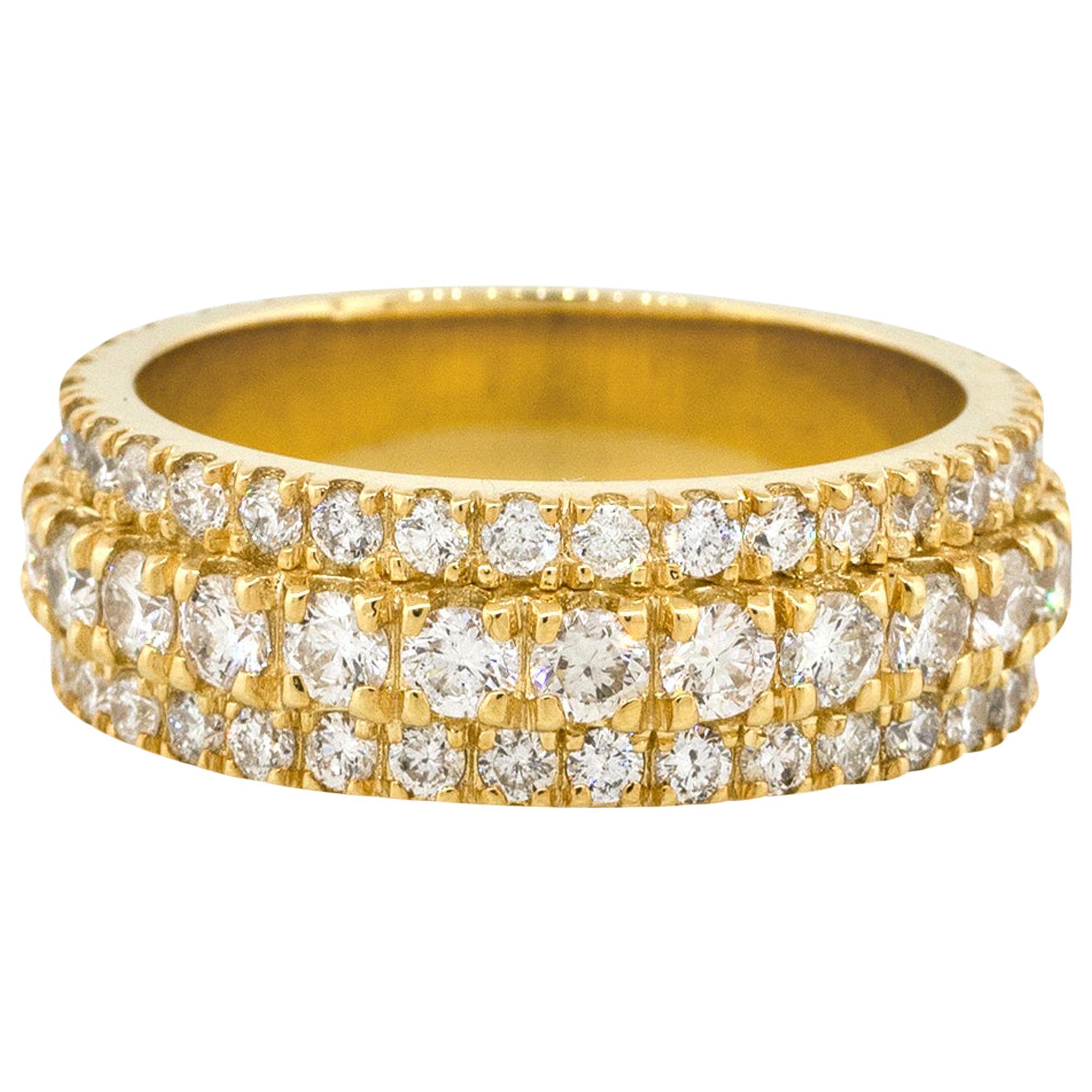 3.85 Carat Diamond Men's Band Pave Ring 14 Karat