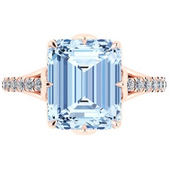 3.85 Carat Emerald Aquamarine Diamond Pave 18 Karat Rose Gold Cocktail Ring