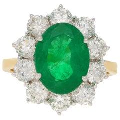 3.85 Carat Emerald Diamond Cluster Ring Set in 18 Karat Yellow Gold