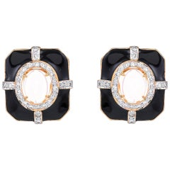 3.85 Carat Ethiopian Opal Diamond Black Enamel 18 Karat Gold Earrings