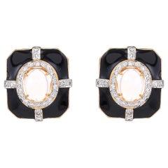 3.85 Carat Ethiopian Opal Diamond Black Enamel Art Deco 18 Karat Gold Earrings