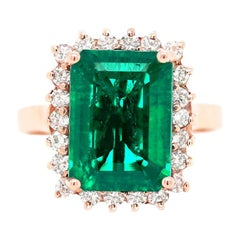 3.85 Carat Gilson Emerald Cut Emerald and Diamonds 14 Carat Rose Gold Ring