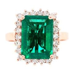3.85 Carat Gilson Emerald Cut Emerald and Diamonds 14 Carat Rose Gold Ring
