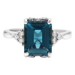 3.85 Carat Natural Impressive London Blue Topaz and Diamond 14K White Gold Ring