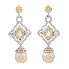 3.85 Carat Sapphire South Sea Pearl Diamond 18 Karat Gold Detachable Earrings