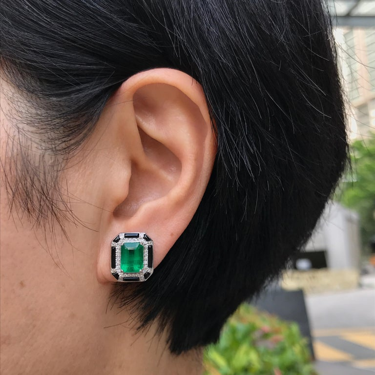 Art Deco 3.85 Carat Zambian Emerald and Diamond Stud Earring For Sale
