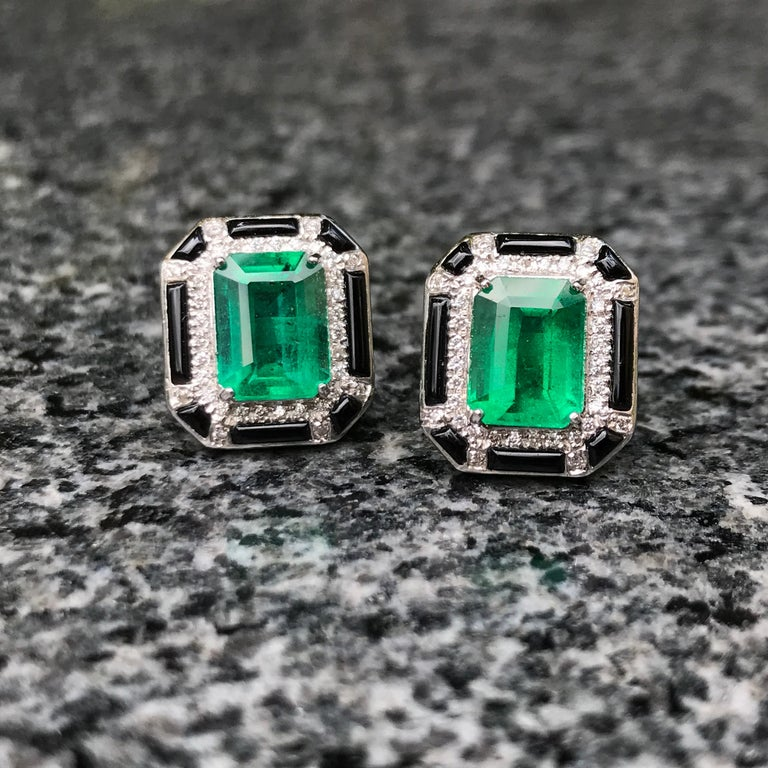 Emerald Cut 3.85 Carat Zambian Emerald and Diamond Stud Earring For Sale
