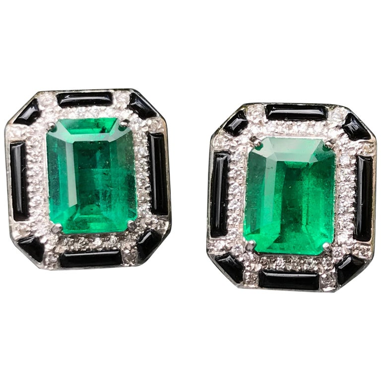 3.85 Carat Zambian Emerald and Diamond Stud Earring For Sale