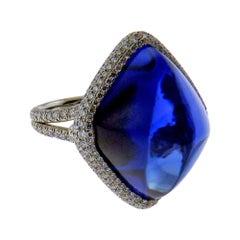38.53 Carat Sugarloaf Sapphire and Diamond Platinum Ring
